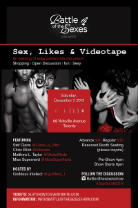 "Battle Of The Sexes: ""Sex, Likes And Videotape"" December 7, 2013 In Toronto"
